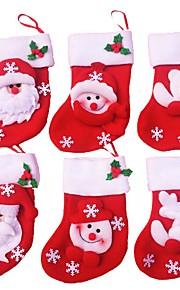 12pcs חג המולד גרב קישוטי חג המולד (סגנון אקראי)
