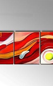 מצויר ביד מופשט / טבע דומם ציורי שמן,מודרני / סגנון ארופאי שלושה פנלים בד ציור שמן צבוע-Hang For קישוט הבית