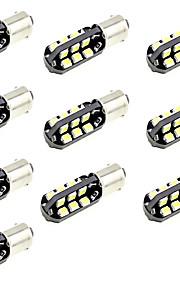 leidde auto licht BA9S T4W marker lezing deur indicator lamp 10 smd 5630 12V DC warm / wit (10 stuks)
