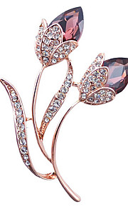 damesmode legering / strass / kristal bloem broches pin partij / dag / casual accessoire sieraden 1pc