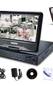 "annke® 10.1 ""LCD de 4 canales AHD 720 dvr red NVR HVR videovigilancia cctv de 8 canales para la cámara con disco duro de 1 TB AHD"