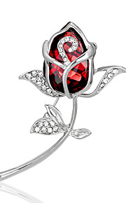 damesmode legering / strass / crystal rose bloem broches pin partij / dag / bruiloft accessoire sieraden 1pc