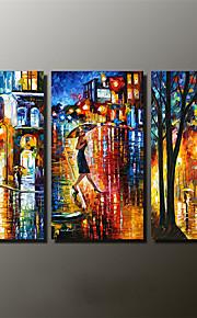 手描きの 風景 / 抽象的な風景画 油彩画,Modern 3枚 キャンバス ハング塗装油絵 For ホームデコレーション