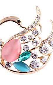 damesmode legering / strass / opaal zwaan broches pin partij / dag / casual accessoire sieraden 1pc