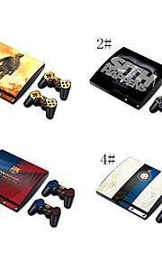 кожи наклейка крышка винила для PS3 Slim + 2 контроллеров