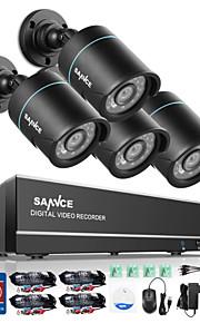 sannce 4 kanaals 4 in 1 720p hdmi ahd cctv dvr 4 stuks 1,0 mp ir outdoor security bullet camera bewakingssysteem