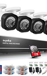 sannce CCTV-systeem 4ch volledige 720p ahd dvr 4 stuks 1.0MP outdoor home security cctv camera video surveillance kit 1TB hdd