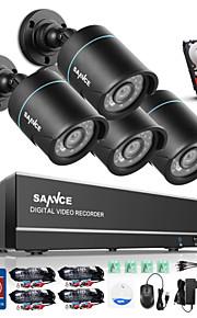 sannce 4 kanaals 4 in 1 720p hdmi ahd cctv dvr 4 stuks 1,0 mp ir outdoor security bullet camera bewakingssysteem ingebouwde 1TB hdd