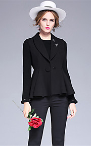OULIE Women's Casual/Daily Simple JacketsSolid Shirt Collar Sleeveless Winter Black Polyester Medium