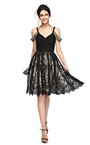 TS Couture Cocktail Party Prom Dress - Little Black Dress A-line Straps Knee-length Chiffon Lace with Beading Criss Cross Ruching