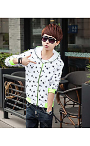 Men's Casual/Daily Simple Jackets,Geometric / Galaxy Hooded Long Sleeve Summer White / Black / Gray / Green Cotton / Acrylic Thin