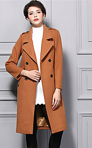 Damen Solide Street Schick Ausgehen Trenchcoat,Winter V-Ausschnitt Langarm Braun Dick Nylon