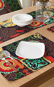 Quadrada Estampa / Padrão / Floral Marcadores de Lugar , Mistura de Algodão Material Hotel Mesa de Jantar / Tabela Dceoration