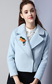 KAN F Women's Casual/Daily Simple JacketsSolid Notch Lapel Long Sleeve Winter Blue Rayon Polyester