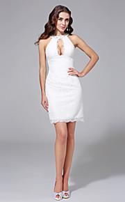 Fourreau / Colonne Bijoux Courte / Mini Dentelle Robe de mariée avec Billes par LAN TING BRIDE®