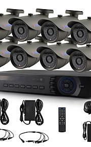 yanse® 8-kanaals ahd dvr kit 720p cctv camera ir 36LED bullet waterdichte bedrade beveiligingssysteem