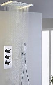 Contemporain Système de douche LED Douche pluie Douchette inclue with  Soupape céramique Trois poignées trois trous for  Chrome , Robinet