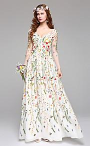 Lanting Bride® Trapèze Robe de Mariage  Colorées Longueur Sol Col en V Dentelle avec Dentelle