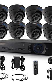 yanse® 8 stuks dome cctv camera ahd dvr kit 720p ir beveiligingssysteem 1200tvl 3.6mm 632b 1.0MP
