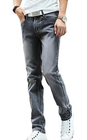 Herren Gerade Jeans Hose-Lässig/Alltäglich Einfach Vintage einfarbig Mittlere Hüfthöhe Knopf Polyester Baumwolle Micro-elastischAll