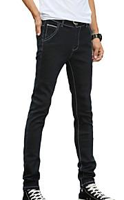 Herren Schlank Jeans Hose-Lässig/Alltäglich Einfach einfarbig Mittlere Hüfthöhe Knopf Polyester Baumwolle Micro-elastisch All Seasons