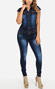 Women's Skinny JumpsuitsGoing out / Casual/Daily Street chic Solid Hin Thin Slim Denim Shirt Collar Short Sleeve Mid Rise Micro-elastic