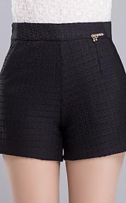 Damen Übergrössen Breites Bein Kurze Hosen Hose-Lässig/Alltäglich Arbeit Einfach Niedlich einfarbig Pailletten Hohe Hüfthöhe