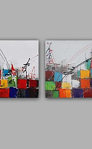Peint à la main Abstrait Carré,Moderne Style européen Deux Panneaux Toile Peinture à l'huile Hang-peint For Décoration d'intérieur