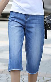 Damen Übergrössen Gerade Jeans Hose-Lässig/Alltäglich Aktiv einfarbig Hohe Hüfthöhe Reisverschluss Baumwolle Micro-elastisch All Seasons