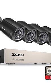 zosi®8-channel 1080n hd-TVI dvr bewakingscamera kit 4x 1280tvl binnen buiten ir waterdichte camera 1tb