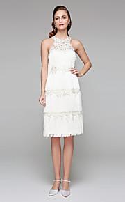 Fourreau / Colonne Bijoux Mi-long Dentelle Robe de mariée avec Billes Fleur par LAN TING BRIDE®