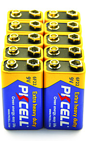 pkcell 6F22 9V zink-koolstof batterij 10 pack extra heavy duty