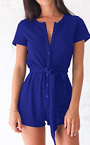 Women's Slim RompersGoing out Casual/Daily Simple Street chic Solid Button Slim Round Neck Short Sleeve Mid Rise Micro-elastic Summer