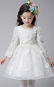 Ball Gown Knee-length Flower Girl Dress - Organza Long Sleeve Jewel with Appliques Bow(s) Crystal Detailing