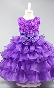 Ball Gown Short / Mini Flower Girl Dress - Organza Sleeveless Jewel with Bow(s) Ruffles