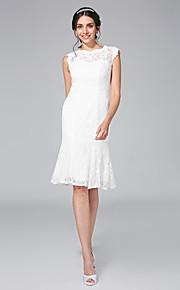 Fourreau / Colonne Bijoux Mi-long Dentelle Robe de mariée avec Dentelle par LAN TING BRIDE®