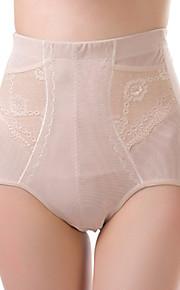 Women's Sexy Jacquard Slimming High Waist Body Shaping Panties Nylon Spandex Female Underwear Beige