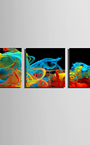 E-HOME Stretched Canvas Art Color Smoke Wonders Decoration Painting Set Of 3