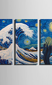 E-HOME Stretched Canvas Art Terrible Waves Decoration Painting Set Of 3