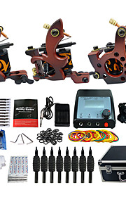 Complete Tattoo Kit 3 Pro Machine Power Supply Foot Pedal Needles Grips Tips TK351