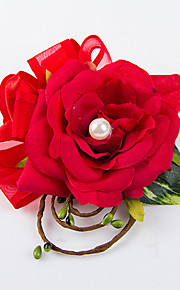 Wedding Flowers Free-form Roses Boutonnieres Wedding Party/ Evening Red / Champagne / Pink / Purple Satin