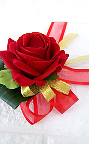 Wedding Flowers Free-form Roses Boutonnieres Wedding Party/ Evening Red / Burgundy Satin