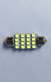 2 stuks leeslamp 39mm 1.5W 16x3528 SMD 60lm wit licht LED lamp voor auto festoen koepel lamp (12V)
