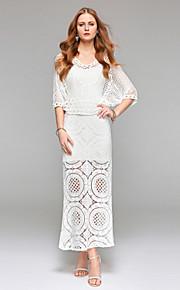 Gaine / colonne v-neck ankle longueur robe de mariée en dentelle avec dentelle drapée