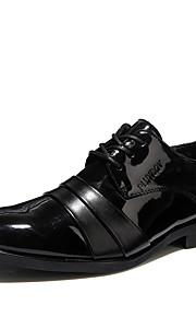 Homme-Mariage Bureau & Travail Décontracté Soirée & Evénement-Noir-Talon Plat-Confort Chaussures formelles-Oxfords-Cuir