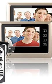 mountainone 7 tommer video dørtelefon dørklokken intercom-system kit 1-kamera 2-skærme nattesyn