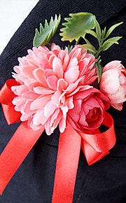 פרחי חתונה בצורה חופשיה ורדים פרחי אדמוניות פרחי דש חתונה חתונה/ אירוע סאטן