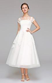 A-ligne bateau thé longueur robe de mariée en dentelle by lan ting bride®