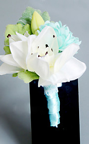 Wedding Flowers Free-form Lilies Peonies Boutonnieres Wedding Party/ Evening Light Blue Satin