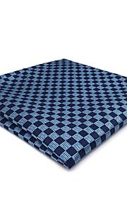 CH22 Handmade Business Men's Pocket Square Handkerchiefs Unique Blue Silver Checked100% Silk New Wedding Classic Casual